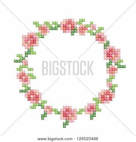 Cross-stitch embroidery, vintage styled floral frame with pink roses and leafs. Vector illustration isolated on white.
