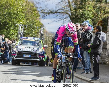 Conflans-Sainte-Honorine,France-March 6,2016: The Slovenian cyclist Luka Pibernik of Lampre-Merida Team riding during the prologue stage of Paris-Nice 2016.