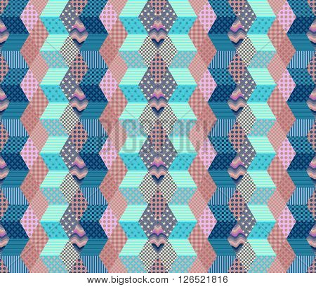 Zigzag seamless patchwork pattern. Vector illustration of quilt in blue and pink tones.