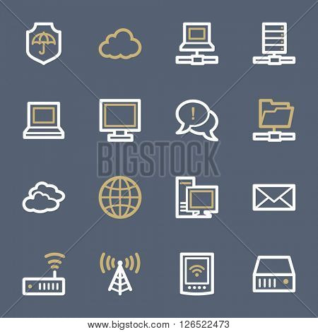 Cloud computing & internet icons set