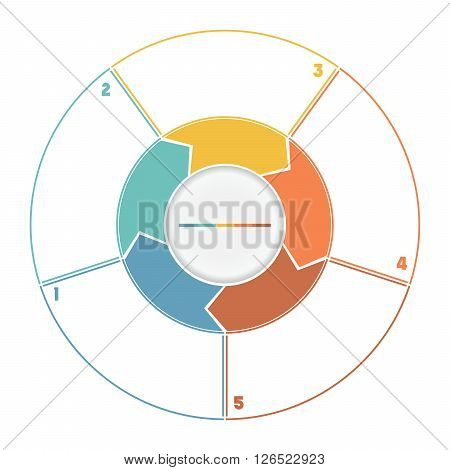 Infographic Ring from Arrows.Template cyclic process numbered for five position