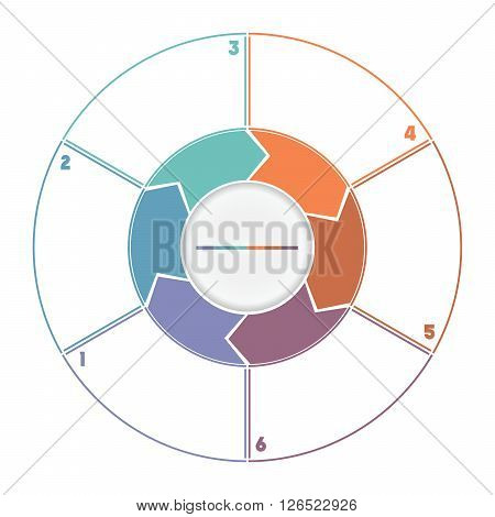 Infographic Ring from Arrows.Template cyclic process numbered for six position