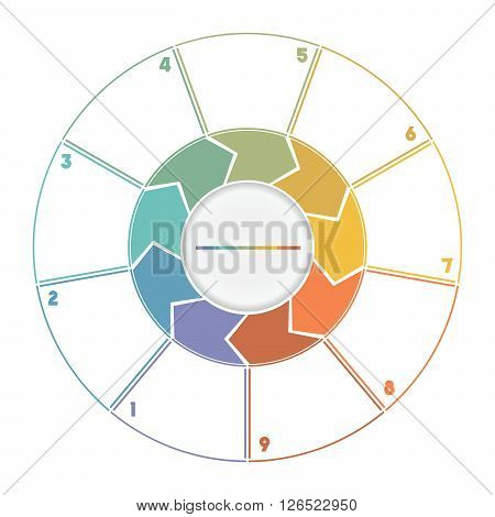 Infographic Ring from Arrows.Template cyclic process numbered for nine position
