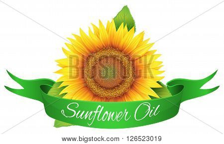 Vector - the label on the bottle of sunflower oil