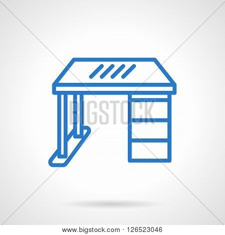 Furniture for home, office, workplace or school. Work desk, table with drawer a front view. Simple blue line vector icon. Single element for web design, mobile app.