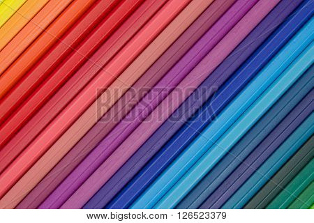 Colorful Color Background, Row Of Color Pencils Macro