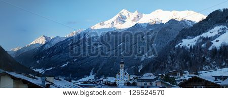 View from Neustift in Stubaitalto mountain range on early morning