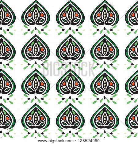 Abstract Leaves Ornament Seamless Pattern
