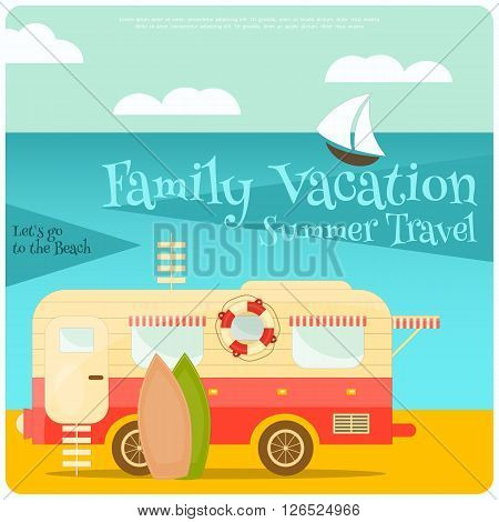 Sea Camping with Family Trailer Caravan. Campsite Landscape with RV Traveler Truck. Outdoor Traveling Vacation. Vector Illustration.