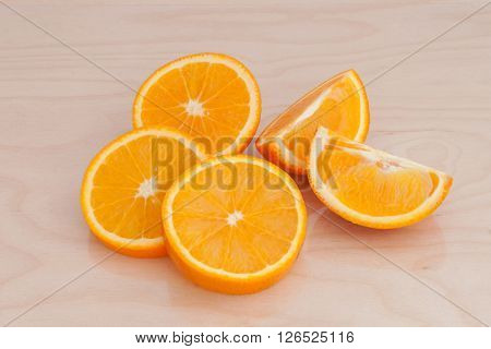 the orange slices on a chopping Board