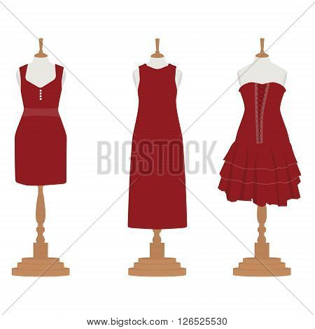 Vector illustration set of three red bordo different design elegant cocktail and evening woman dresses on mannequin for boutique.