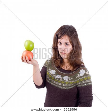 """girl with 2 apples  - See similar images of this """"Healthy women"""" series in my portfolio"""