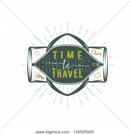 Travel inspiration quotes on sportbag. Motivation for traveling poster typography.