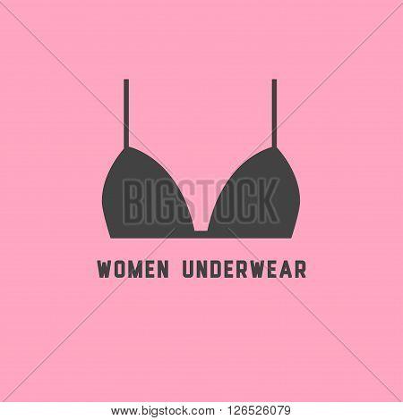 Woman underwear symbol. Deep grey bra silhouetter on cute pink background. Logo or emblem.