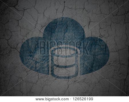 Programming concept: Database With Cloud on grunge wall background