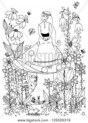 Vector illustration zentangl girl sitting on a mushroom. Fairy story, doodle flowers, rabbit, carrot, fairy, princess, butterfly. Coloring book anti stress for adults. Black and white.
