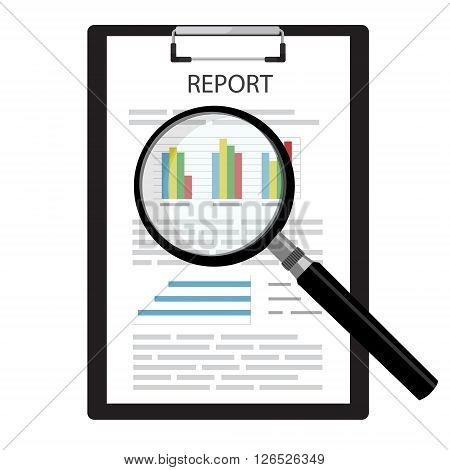 Vector illustration on report business report with graphs on black clipboard and magnifying glass. Report icon. Search symbol