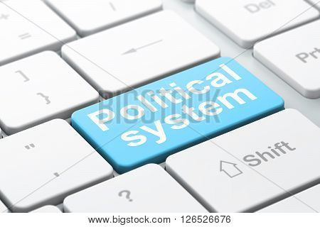 Politics concept: Political System on computer keyboard background