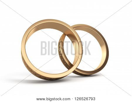 3D Illustration Gold Wedding Rings Engraved Isolated On White