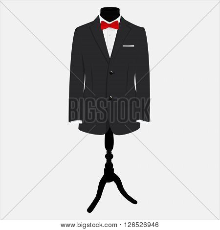 Vector illustration elegant modern businessman black suit with red bow tie and white shirt on mannequin. Suit icon