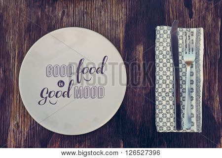 Vintage Kitchen Cutlery With Healthy Eating Text