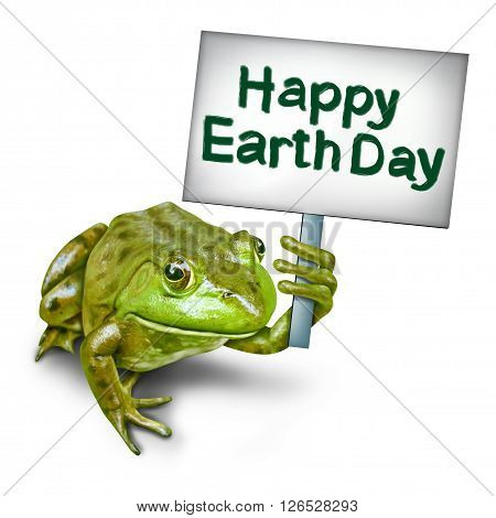 Earth day frog holding a sign in protest as an ecological concept as a group of frogs coming together to form text as an environmental symbol for protection of endangered habitat 3D illustration.