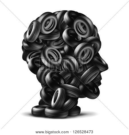 Car tire concept as a group of rubber wheels shaped as a human head as an auto mechanic repair symbol on a white background as a 3D illustration transportation icon.