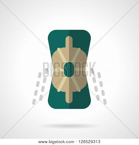 Protective accessories and outfits for extreme sport. Green knee pad for longboarding, skateboarding and rollers. Flat color style vector icon. Web design element for site, mobile and business.