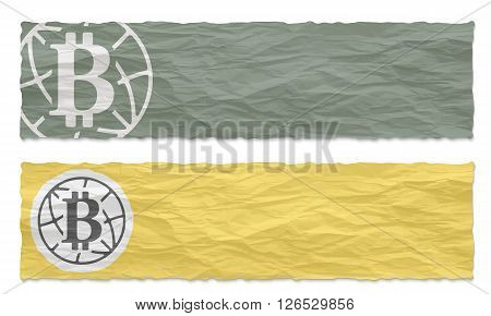 Two green banners of crumpled paper with bit coin icon