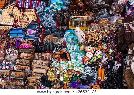 souvenirs in a street market in Peru