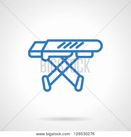 Equipment for household laundry. Empty folding ironing board.  Simple blue line vector icon. Single element for web design, mobile app.