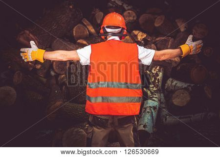 Lumber Worker of the Month Showing All Wood Logs He Cut. The Best Lumber Worker. Timber Industry Concept.