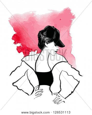 Young fashion model with a baseball cap - vector illustration