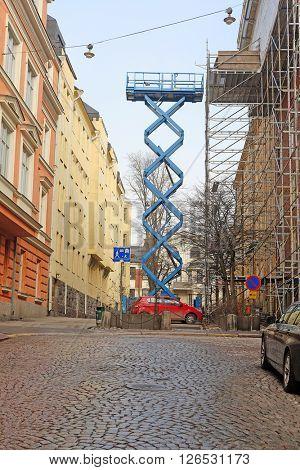 Helsinki, Finland - April, 4, 2016: construction lift in Helsinki, Finland