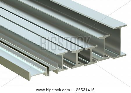 structural beams steel rolled metal H-beam. 3D rendering