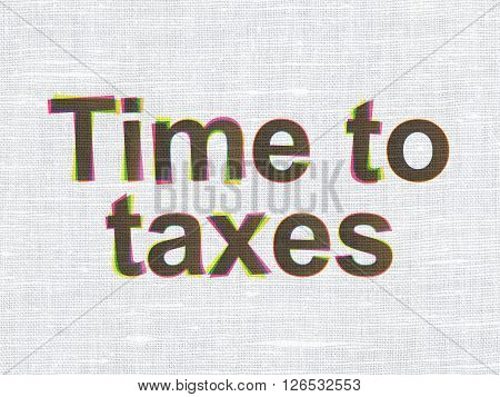 Timeline concept: Time To Taxes on fabric texture background