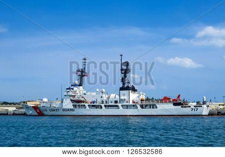 Hawaii, United States of America - April 24, 2015: USA coast guard ship in Pearl Harbor, Hawaii