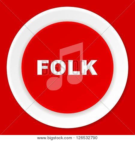 folk music red flat design modern web icon