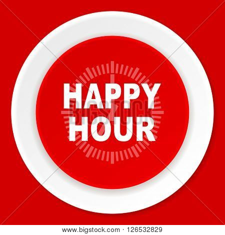 happy hour red flat design modern web icon