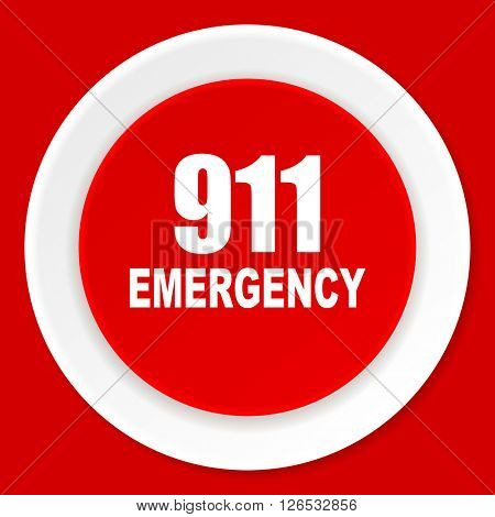 number emergency 911 red flat design modern web icon