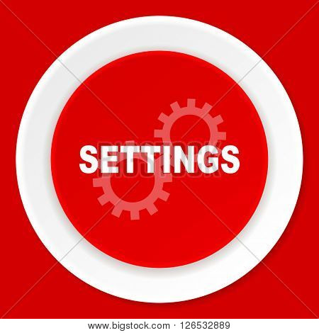 settings red flat design modern web icon