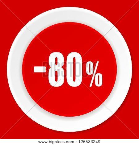 80 percent sale retail red flat design modern web icon