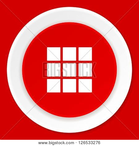 thumbnails grid red flat design modern web icon