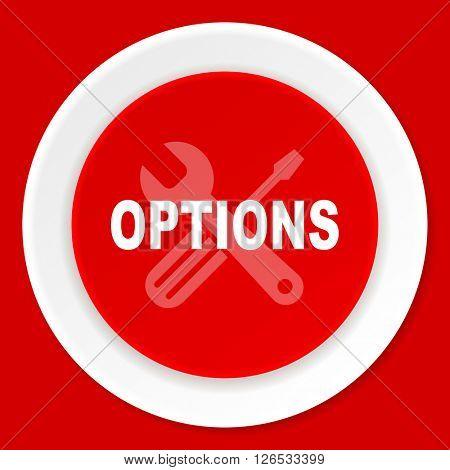 options red flat design modern web icon
