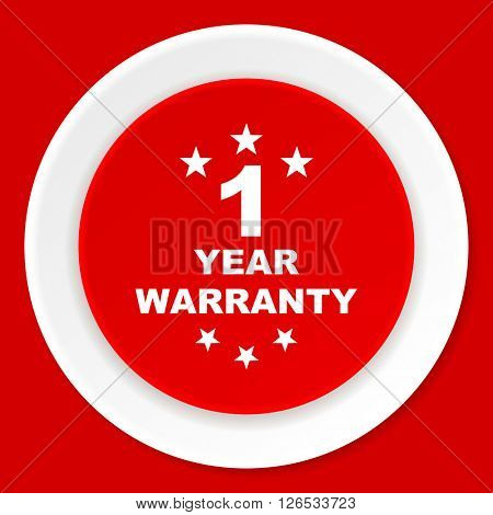 warranty guarantee 1 year red flat design modern web icon