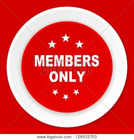 members only red flat design modern web icon