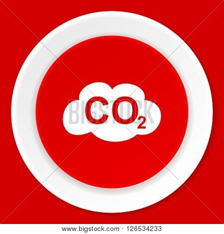 carbon dioxide red flat design modern web icon