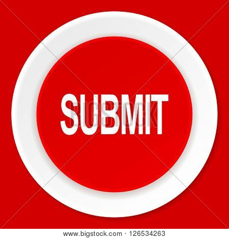 submit red flat design modern web icon