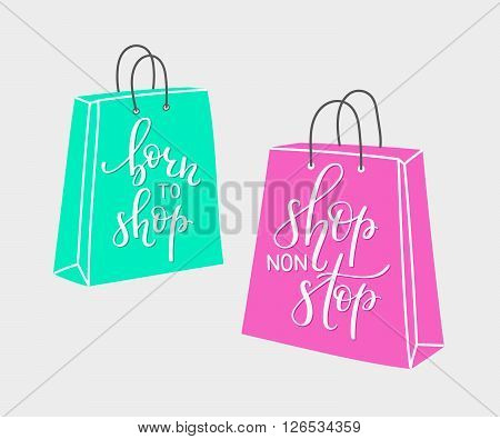 Lettering on shopping bag shape. Vector quote about shopping. Postcard or poster graphic design for retail. Black friday sale. Shop non stop. Born to shop. Hand written sign. Decoration element.