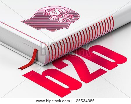 Business concept: closed book with Red Head With Finance Symbol icon and text B2b on floor, white background, 3D rendering